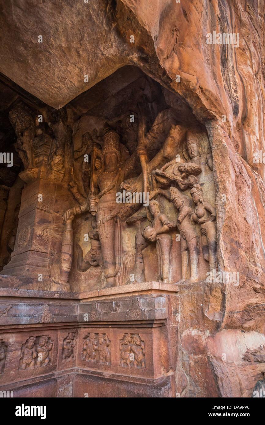 India, South India, Asia, Karnataka, Third Cave, Vishnu, Mangalesha, Badami, Caves, architecture, art, city, Dravidian, - Stock Image