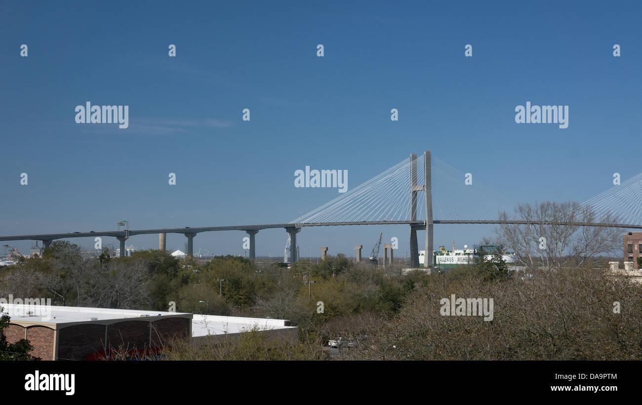 Talmadge Memorial suspension bridge spanning the Savannah River in downtown Savannah Georgia - Stock Image
