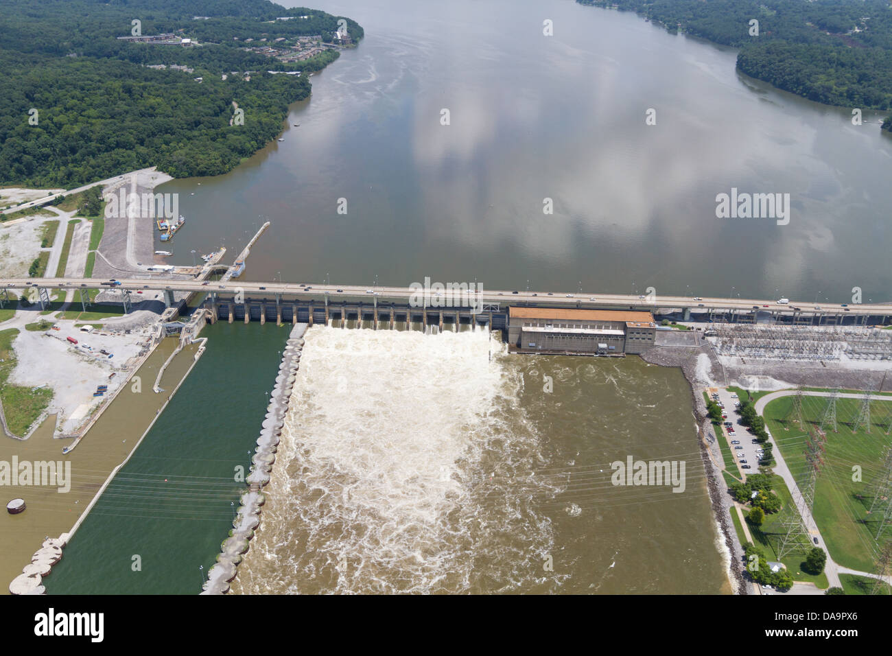 Aerial view of the Chickamauga dam, looking northeast.  The Tennessee River is at flood stage. Stock Photo