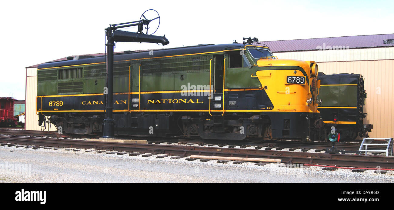 Canadian National locomotive #6789 and Steam Generator Unit #15421 - Stock Image
