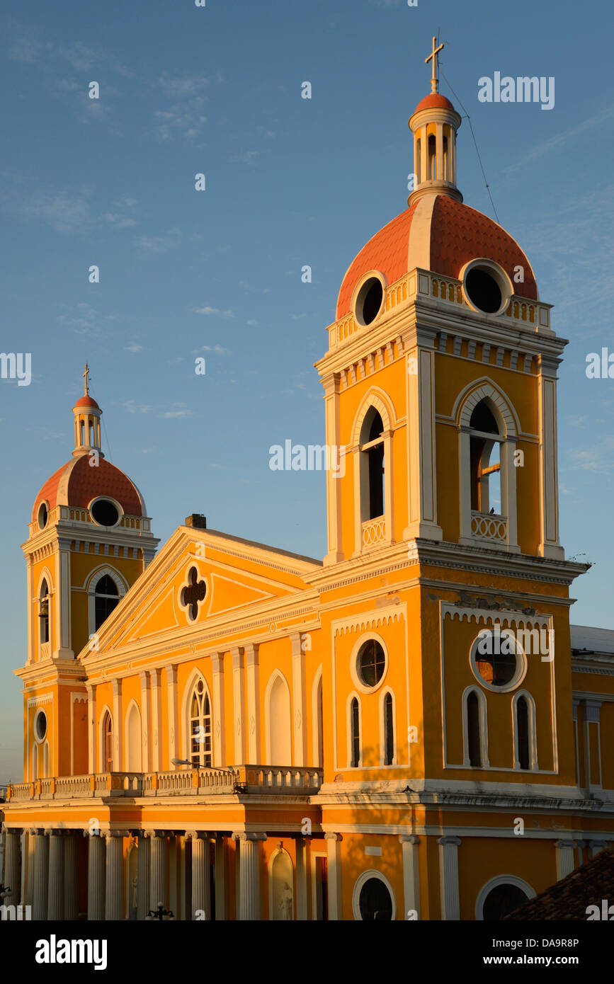 Central America, Nicaragua, Granada, colonial, city, cathedral, church - Stock Image