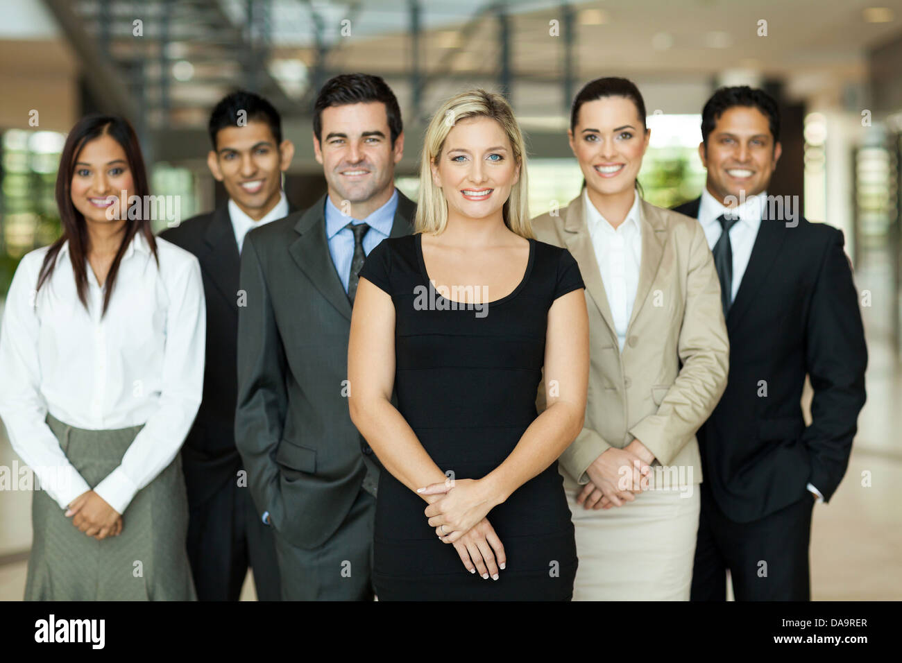 portrait of modern business team inside office building - Stock Image