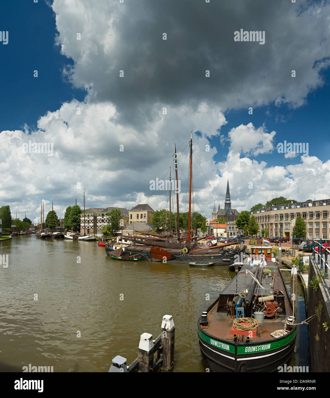 Netherlands, Holland, Europe, Gouda, Sailing, vessels, ship, Old Harbour, harbour, city, village, water, summer, - Stock Image