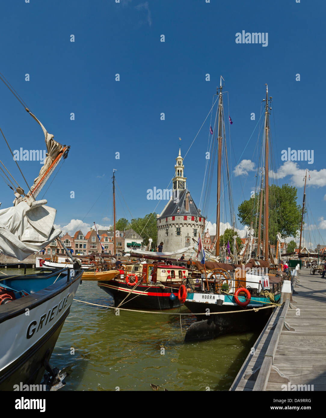 Netherlands, Holland, Europe, Hoorn, Sailing, vessels, ship, Main tower, tower, city, village, water, summer, ships, - Stock Image