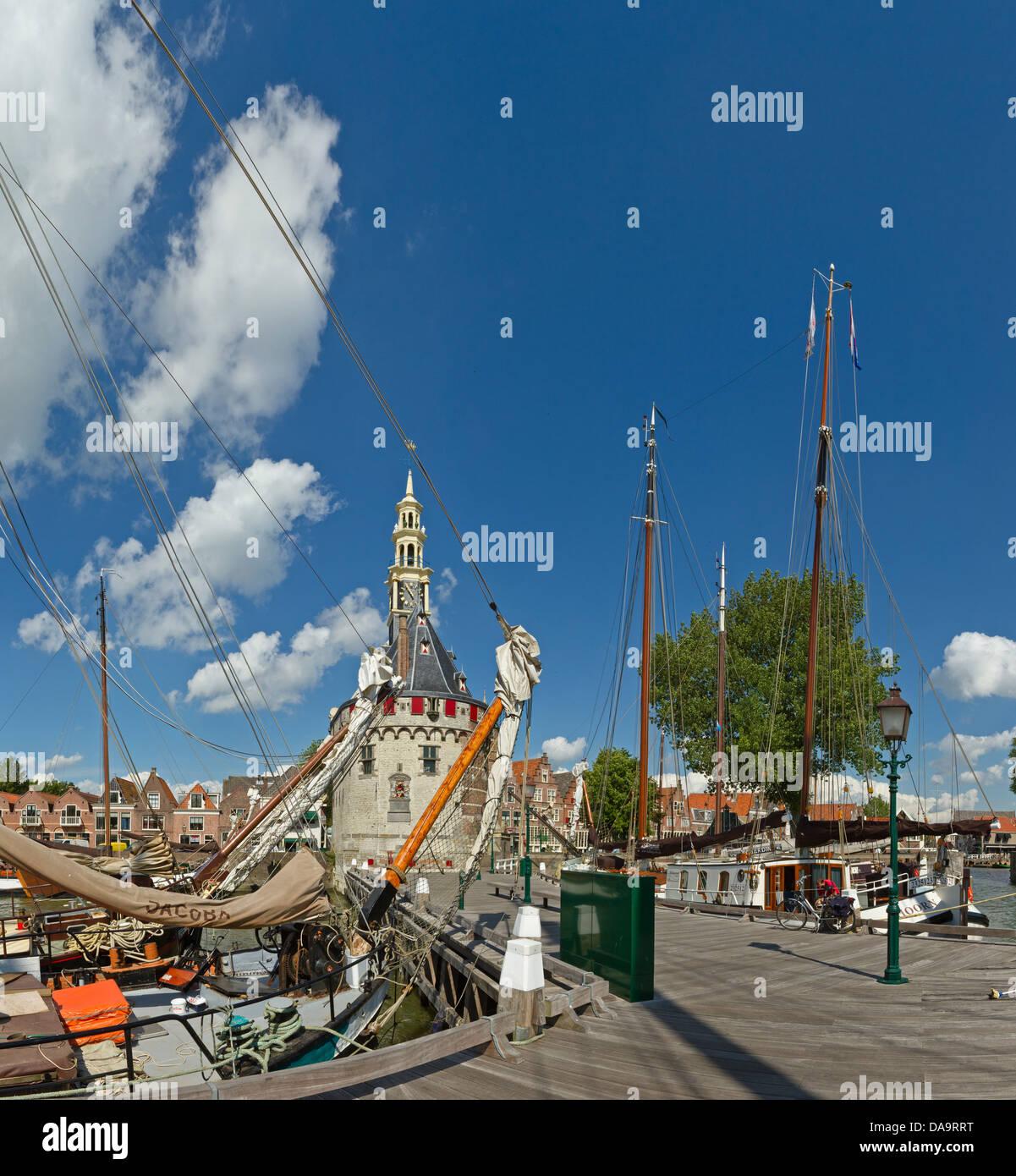 Netherlands, Holland, Europe, Hoorn, Sailing, vessels, ship, Main tower, tower, city, village, summer, ships, boat, - Stock Image