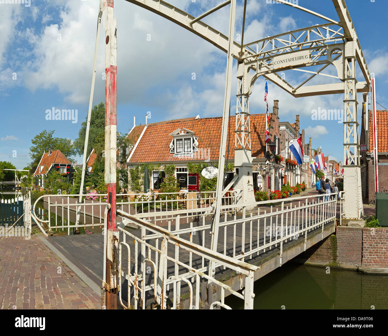 Netherlands, Holland, Europe, Edam, Metal, bridge, drawbridge, city, village, summer, - Stock Image