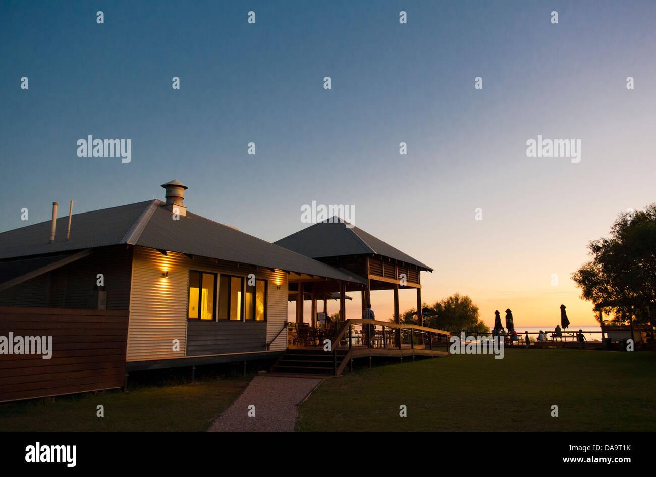 The main lodge of Kooljaman, indigenous wilderness camp at Cape Leveque, Dampier Peninsula, Kimberley, at sunset Stock Photo