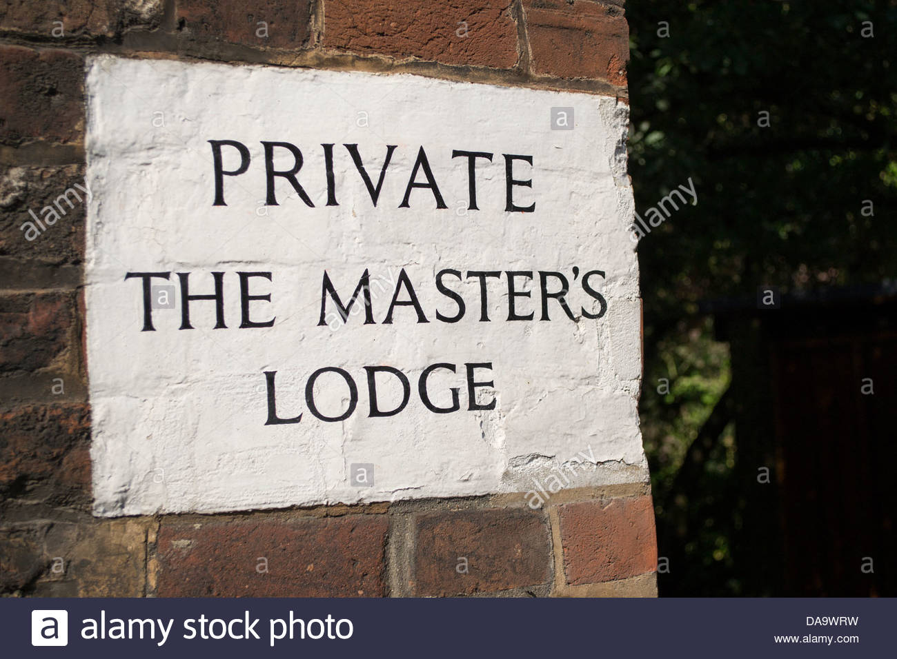 Sign on Jesus Lane, Private, The Master's Lodge - Stock Image
