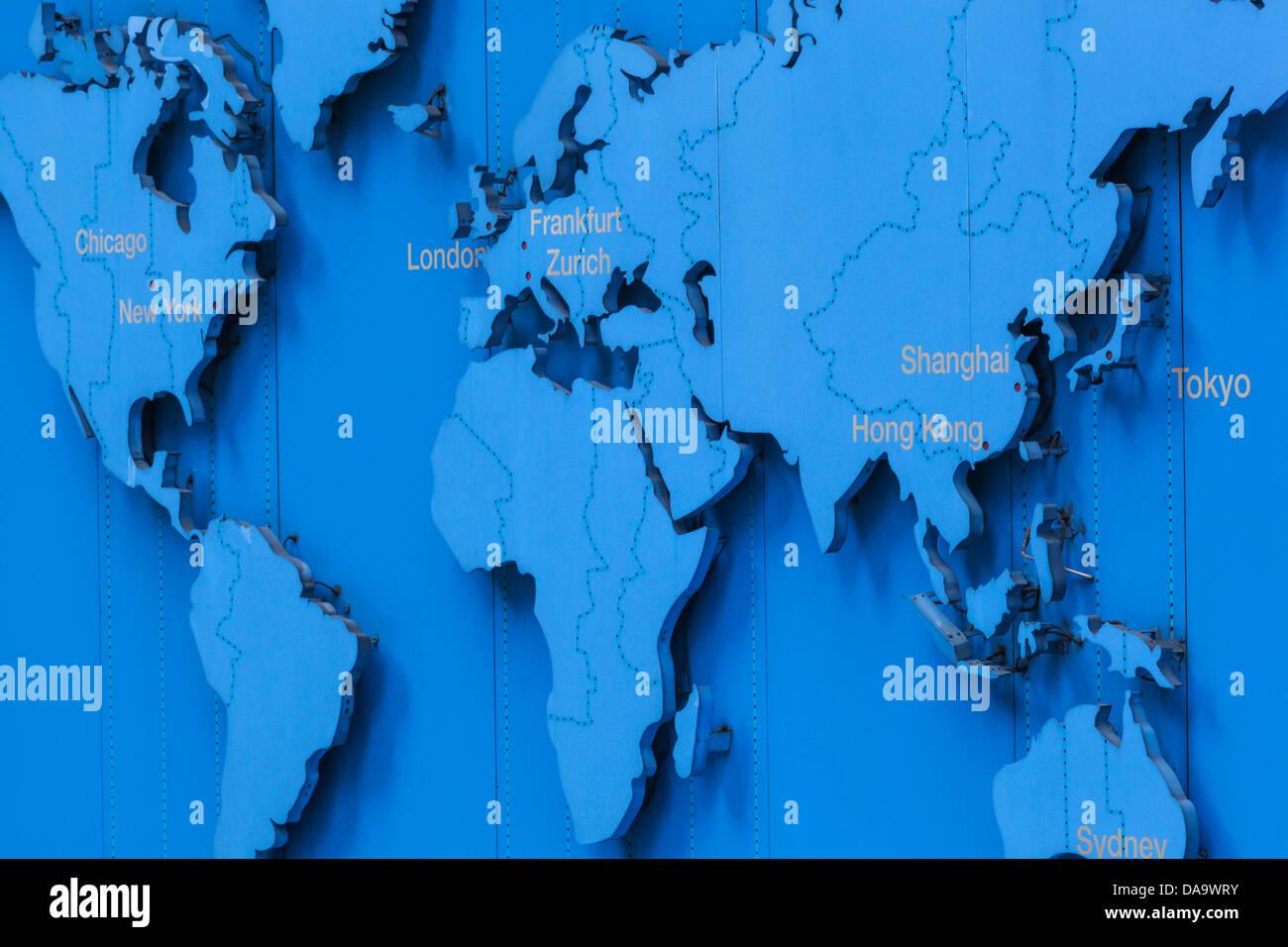China, Hong Kong, Hongkong, World Map Showing Main Financial Centres    Stock Image