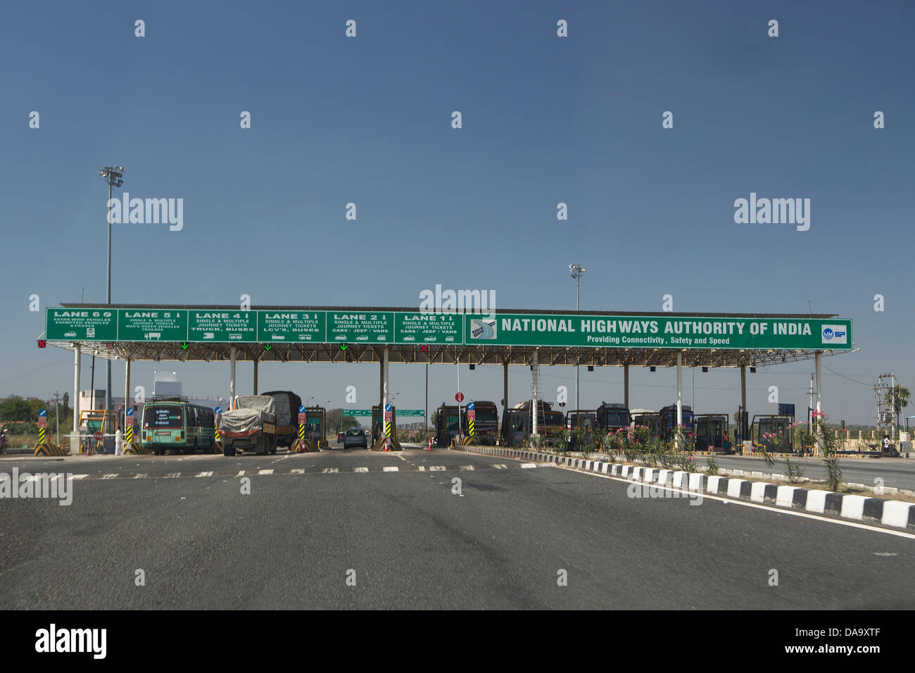 India, South India, Asia, Highway, Toll booth, board, control, expressway, gate, new, tax, toll, traffic - Stock Image