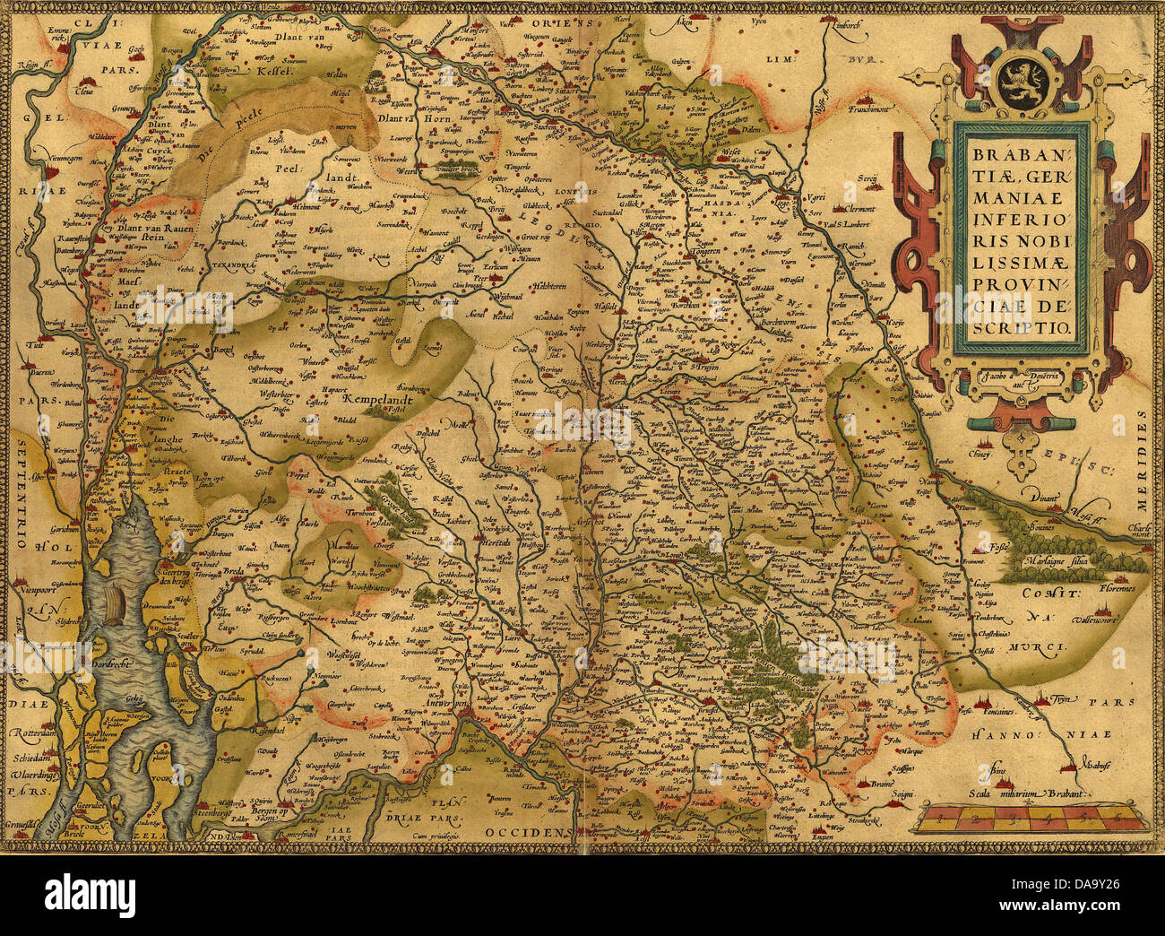 Antique Map of Germany, by Abraham Ortelius, circa 1570  - Stock Image