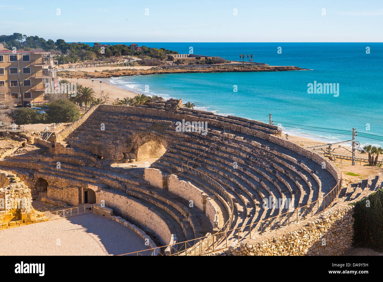 Spain, Europe, Catalonia, amphitheatre, architecture, beach, history, roman, ruins, skyline, tarraco, Tarragona, - Stock Image