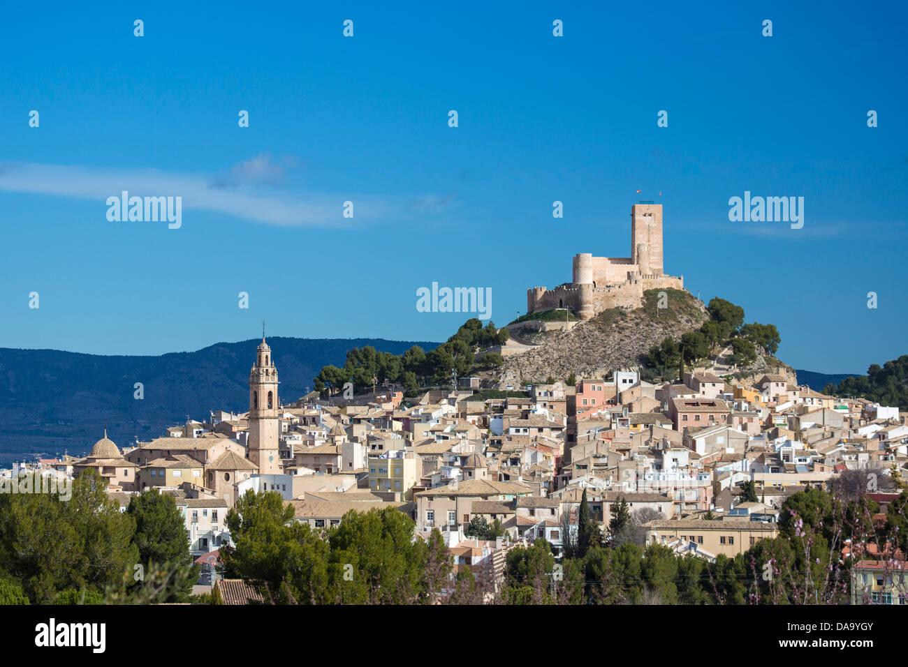Spain, Europe, Valencia, architecture, buildings, castle, hill, historical, history, pueblo, skyline, touristic, - Stock Image