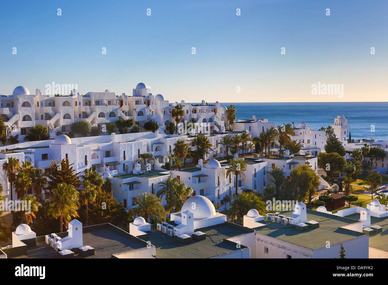 Spain, Europe, Andalusia, beach, coast, buildings, Mediterranean, new, palm, sea, touristic, trees, white - Stock Image