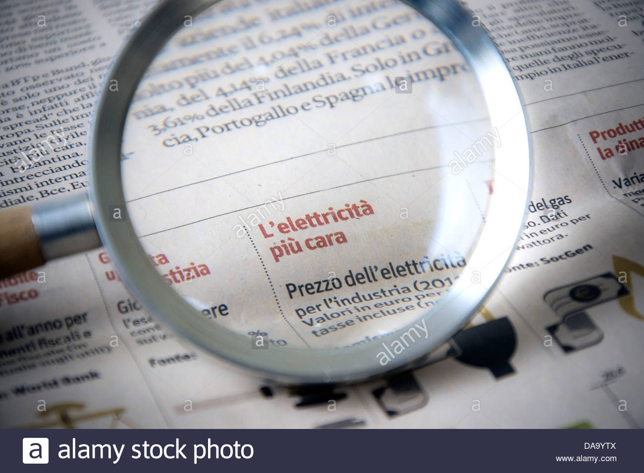 magnification of a news journal - Stock Image