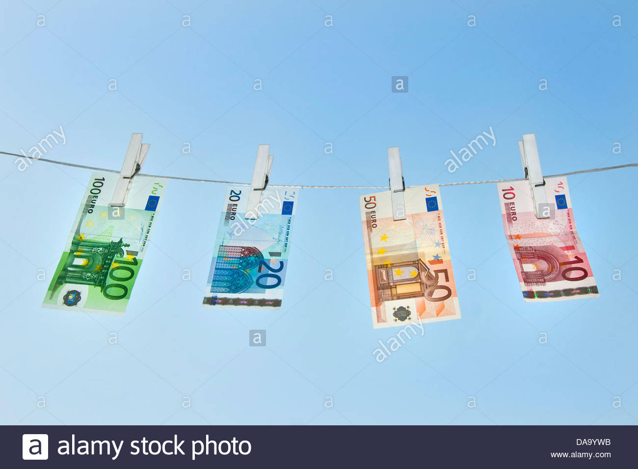 euro on clothesline - Stock Image
