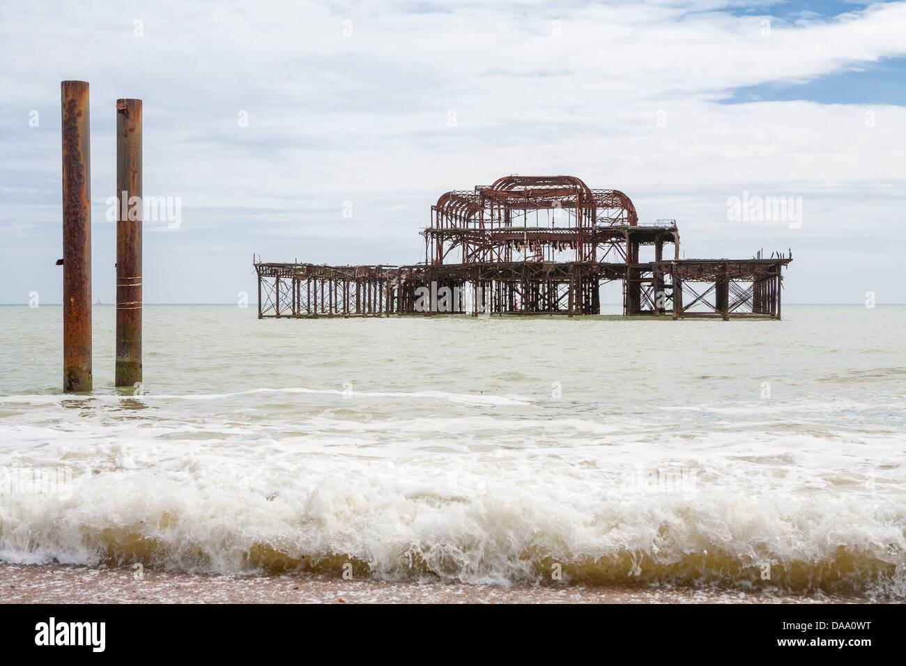 Old West Pier. Brighton, UK - Stock Image