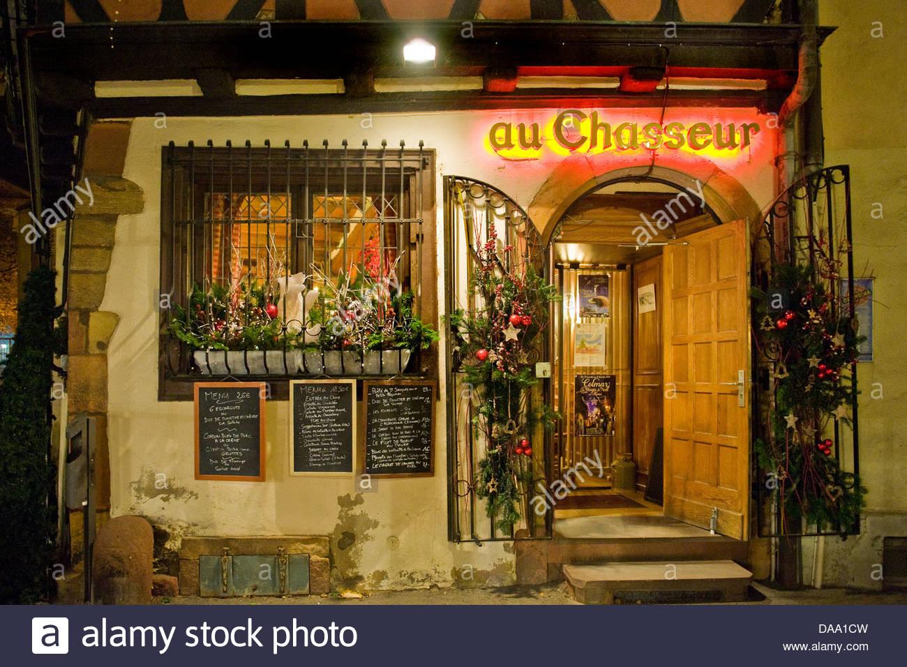 France,Alsace,Colmar,Au Chasseur restaurant - Stock Image