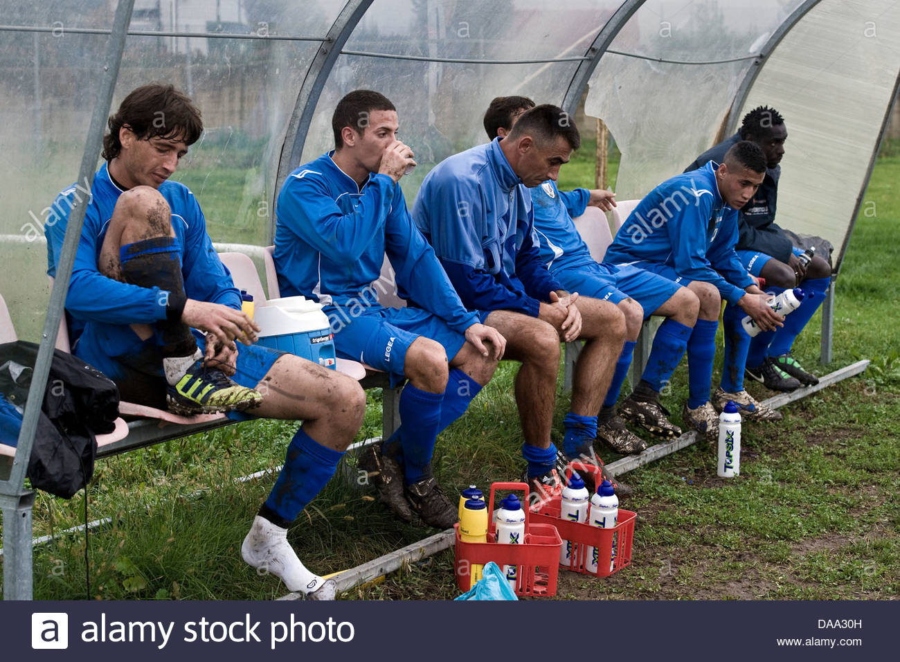 players on the sidelines - Stock Image