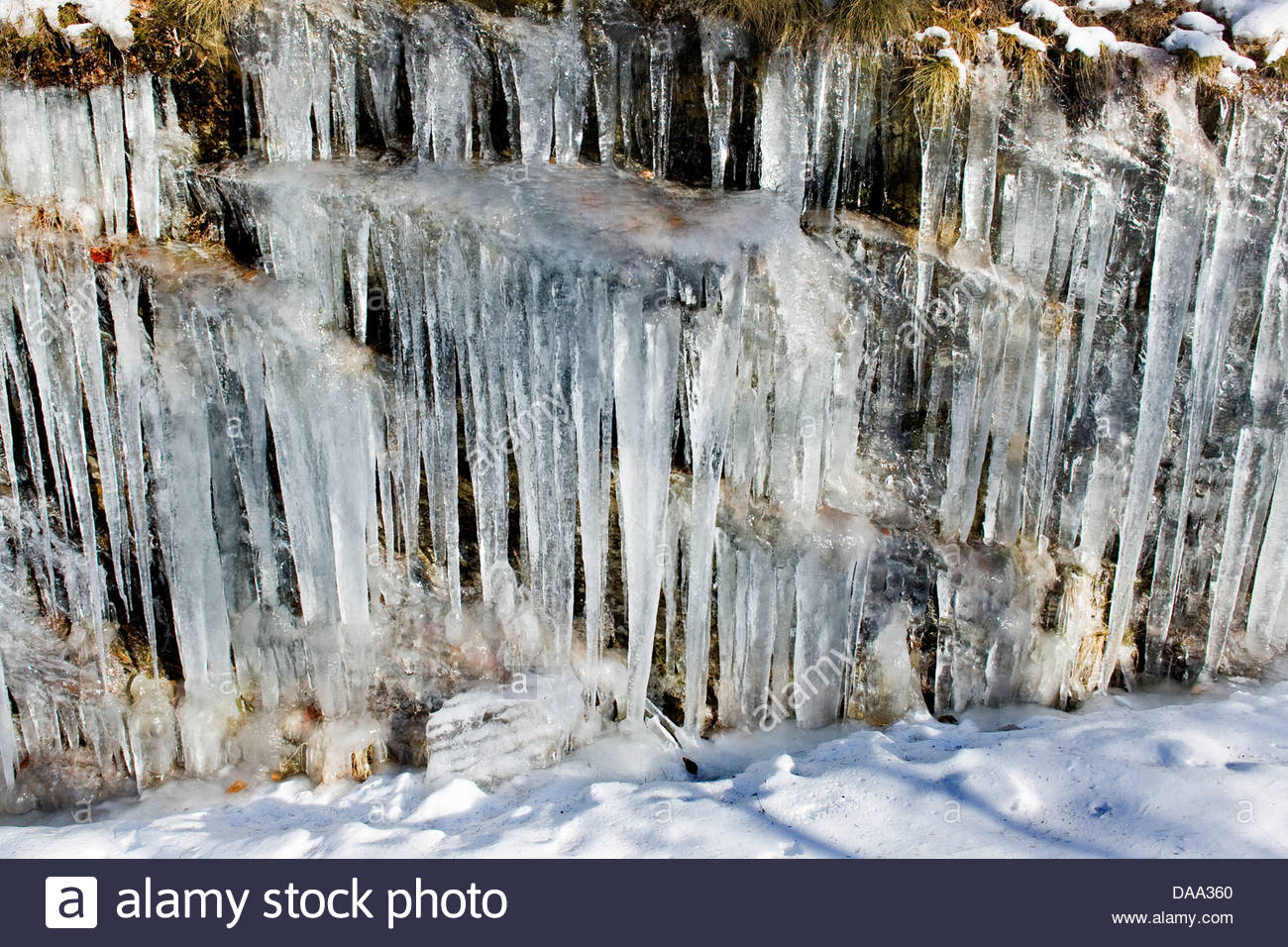 Switzerland,Canton Ticino,Fusio,ice formations Stock Photo