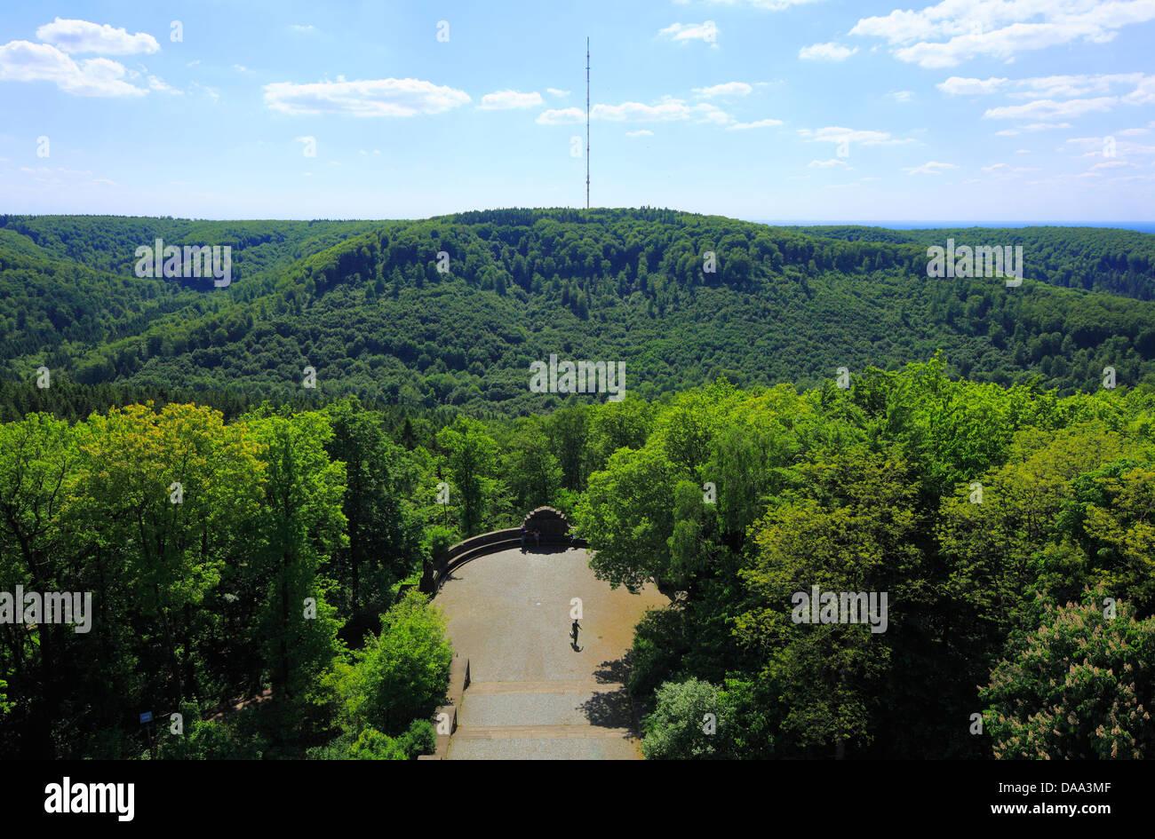 Blick vom Hermannsdenkmal zum Bielstein im Lippischen Wald, Detmold, Teutoburger Wald, Nordrhein-Westfalen Stock Photo