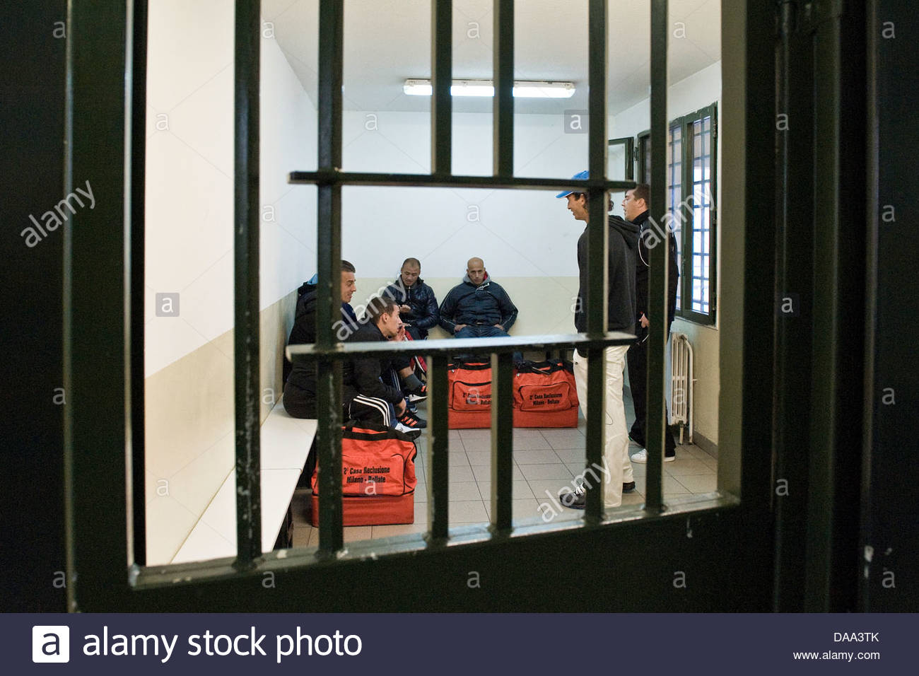 Italy,Bollate prison,prisoners waiting to be transferred outside for the football match - Stock Image