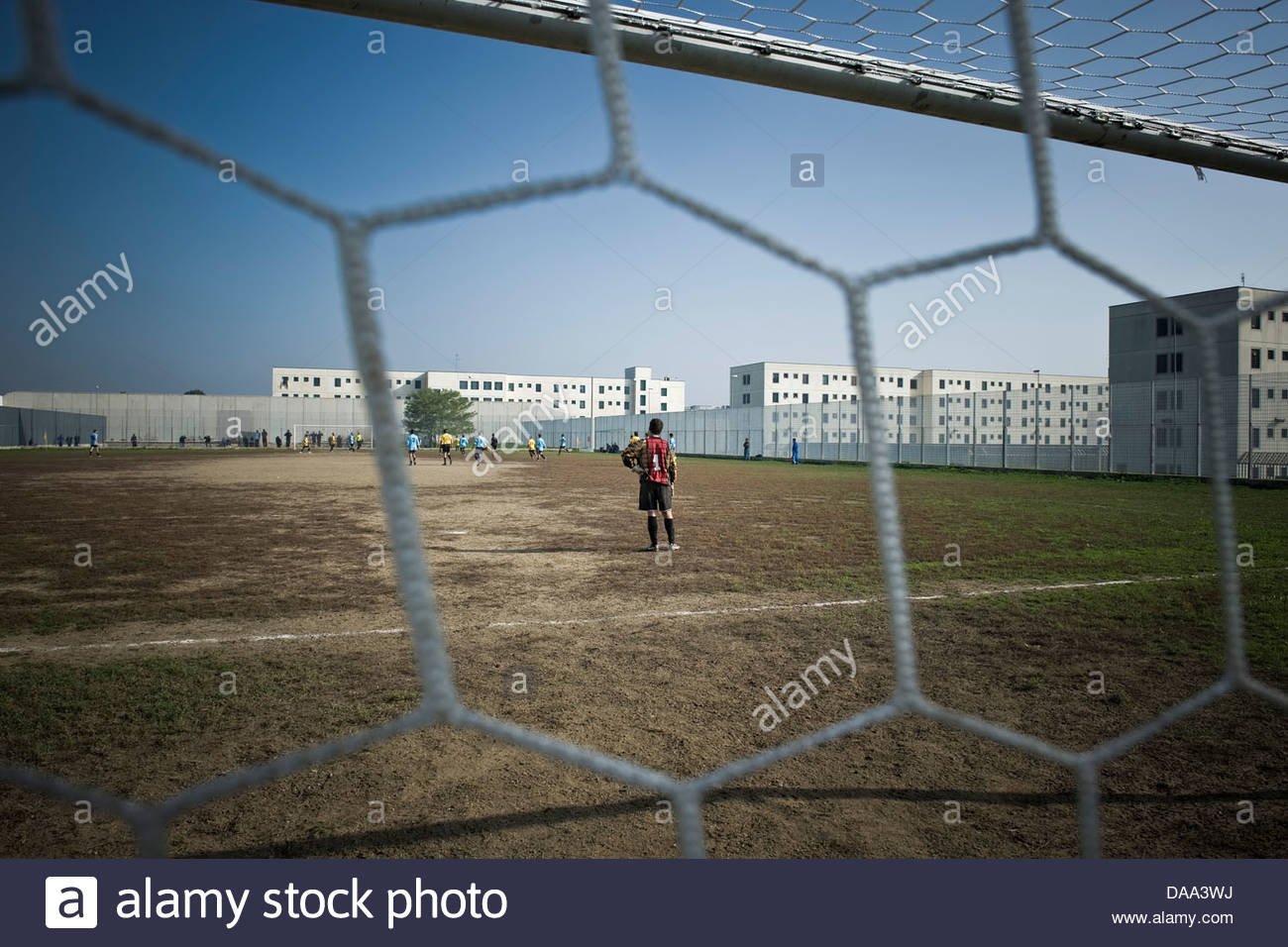 Italy,Bollate prison,football game inside the prison - Stock Image