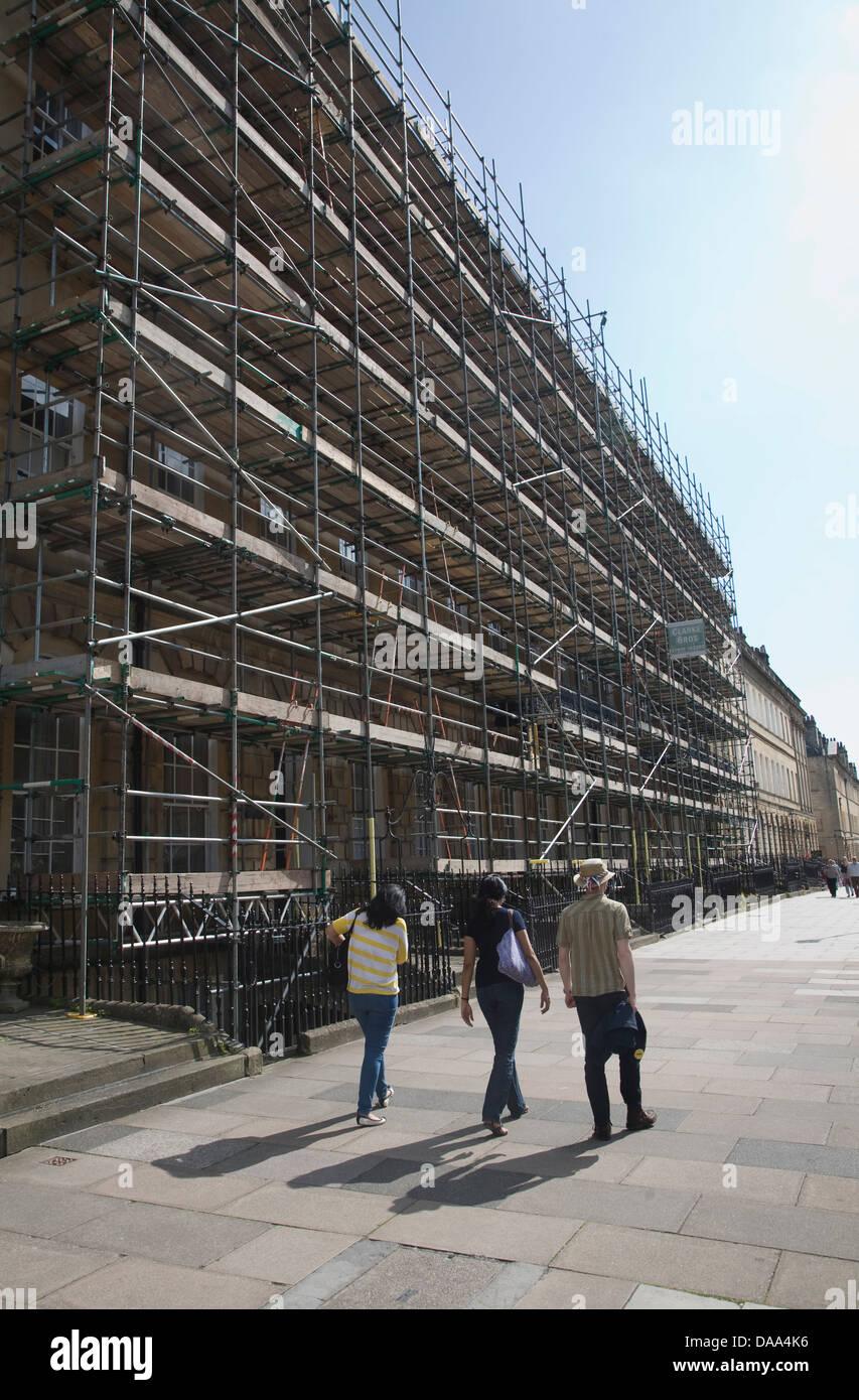 Scaffolding on buildings in Great Pulteney Street, Bath, Somerset, England - Stock Image