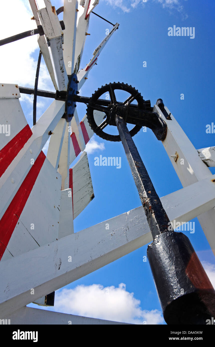 Detail of fantail and gearing on a traditional Norfolk Broads drainage mill. - Stock Image