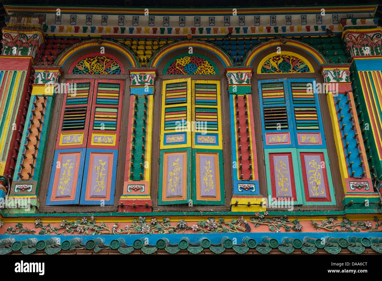 Colorful Historic Shophouse Frontage in Little India now a Pharmacy, Singapore - Stock Image