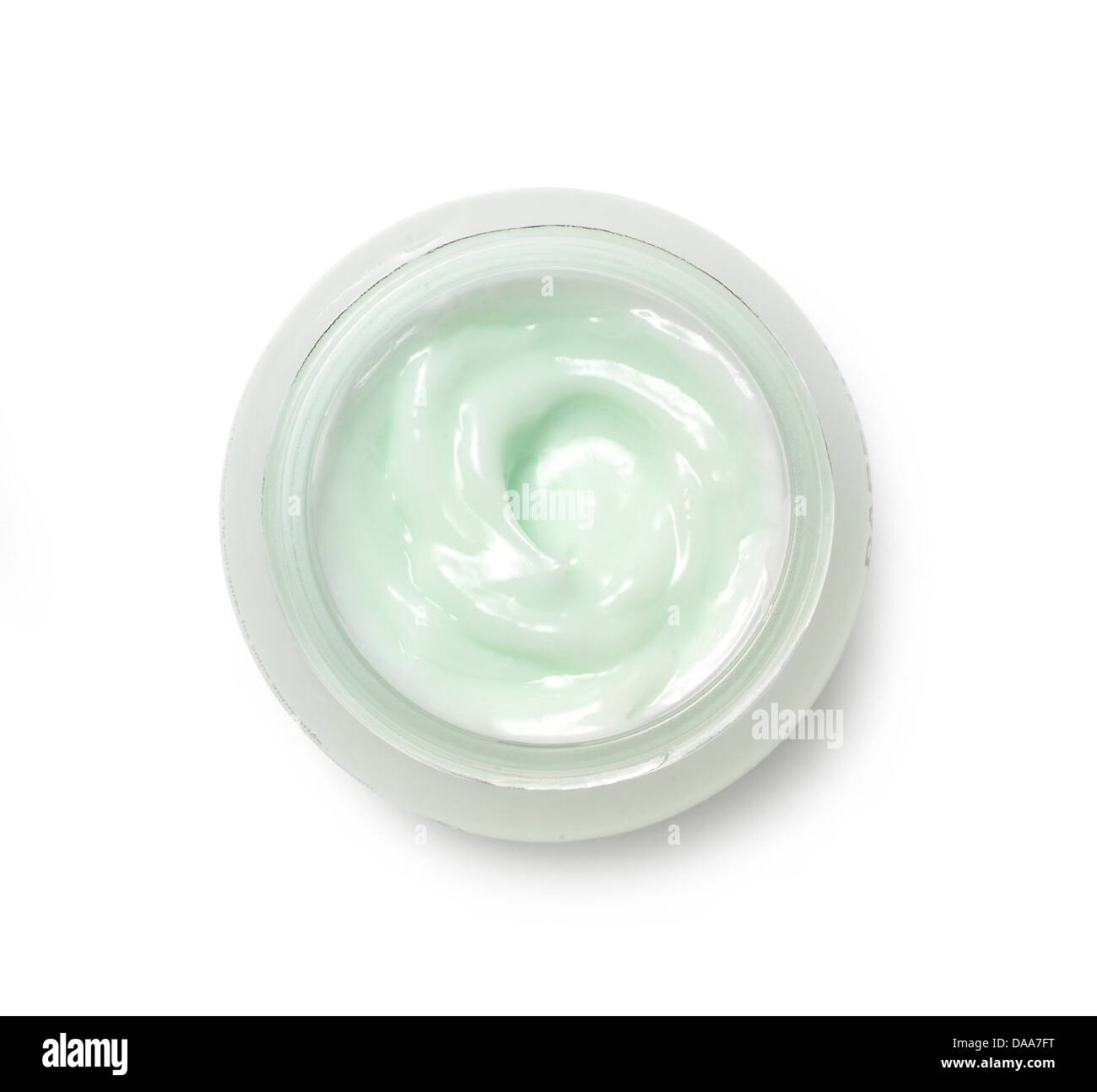 green/blue body face cream cut out onto a white background - Stock Image