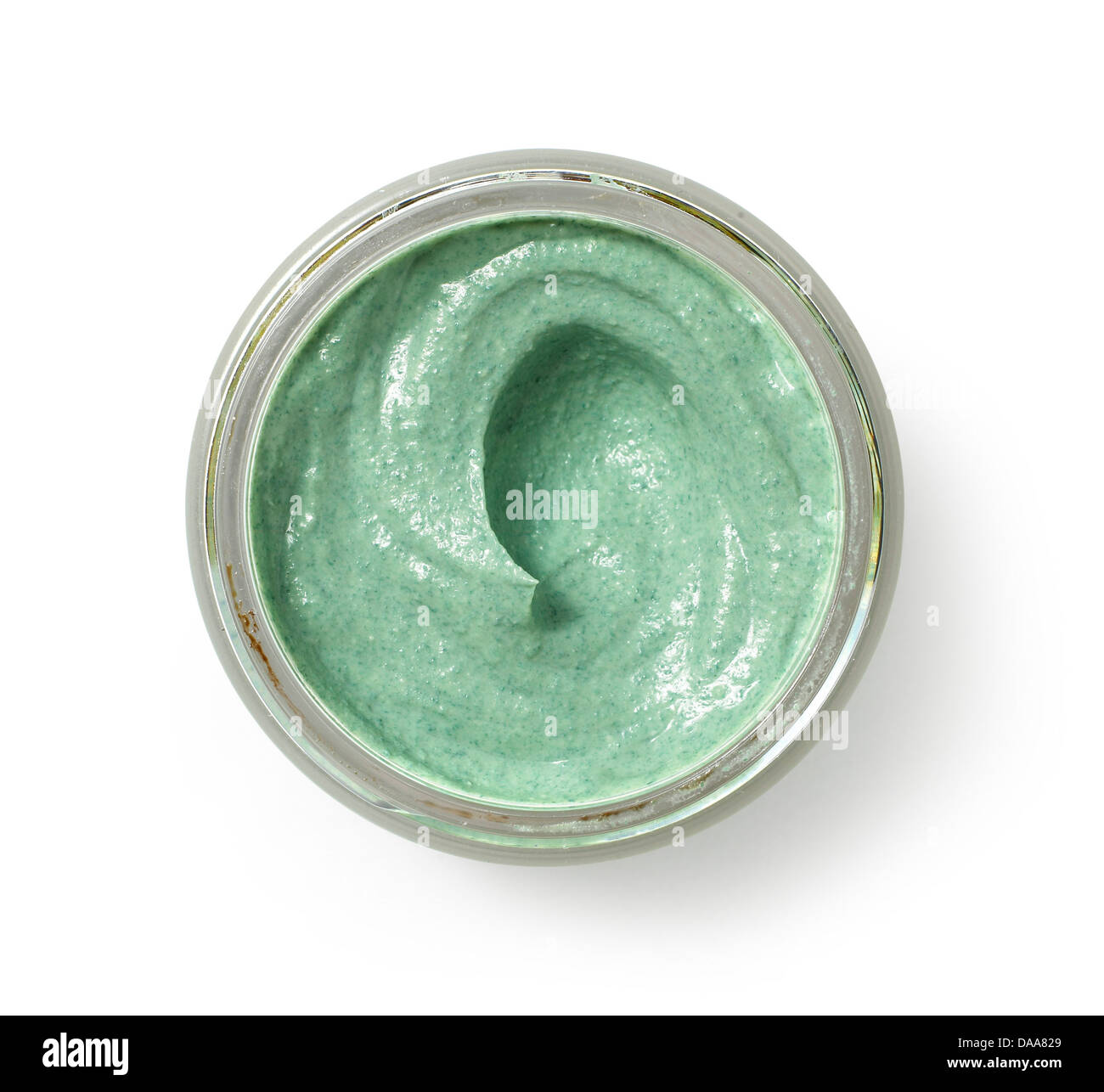 green beauty cream gel cut out onto a white background - Stock Image