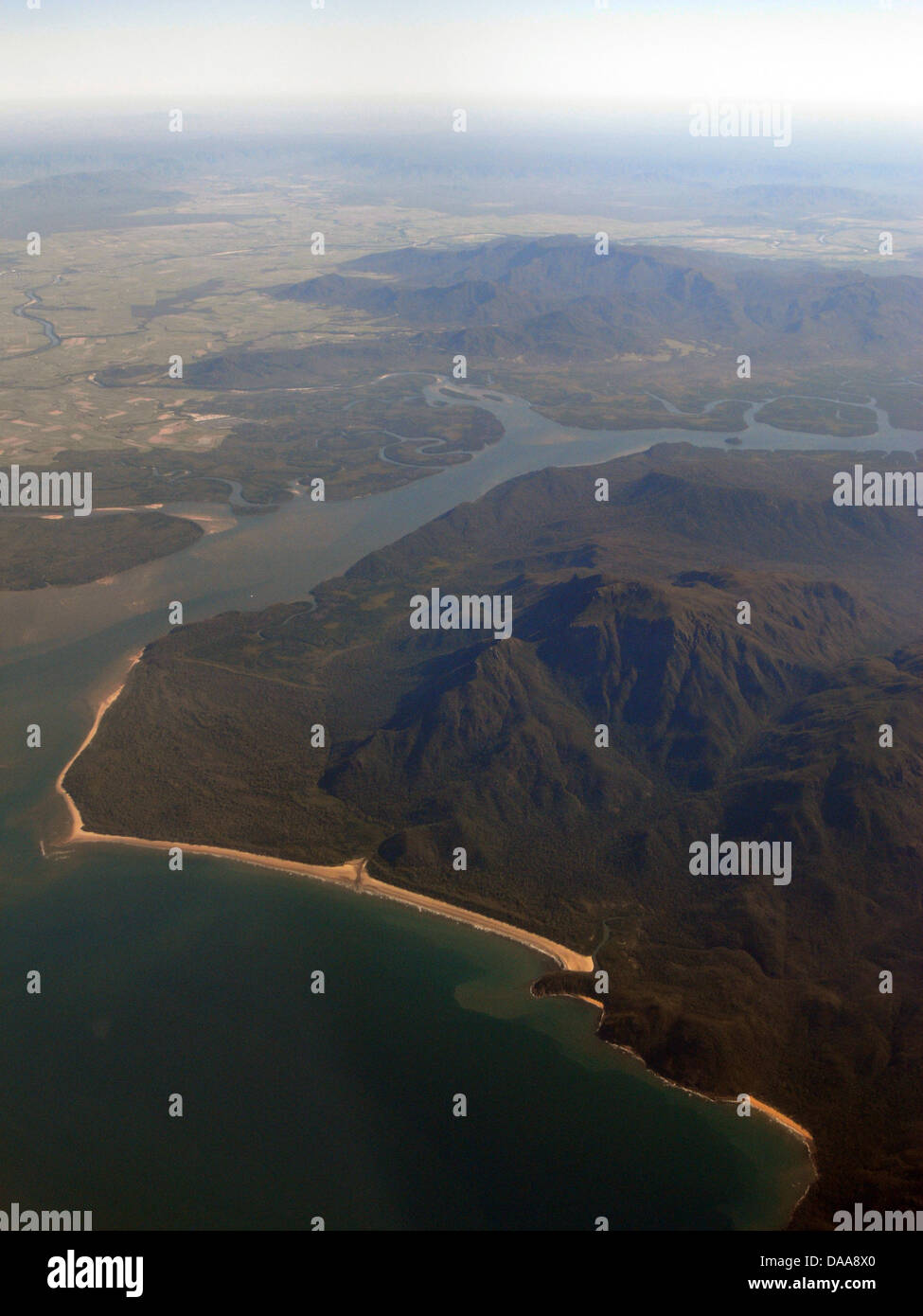 Aerial view of southern end of Hinchinbrook Channel, Hinchinbrook Island National Park, Queensland, Australia - Stock Image