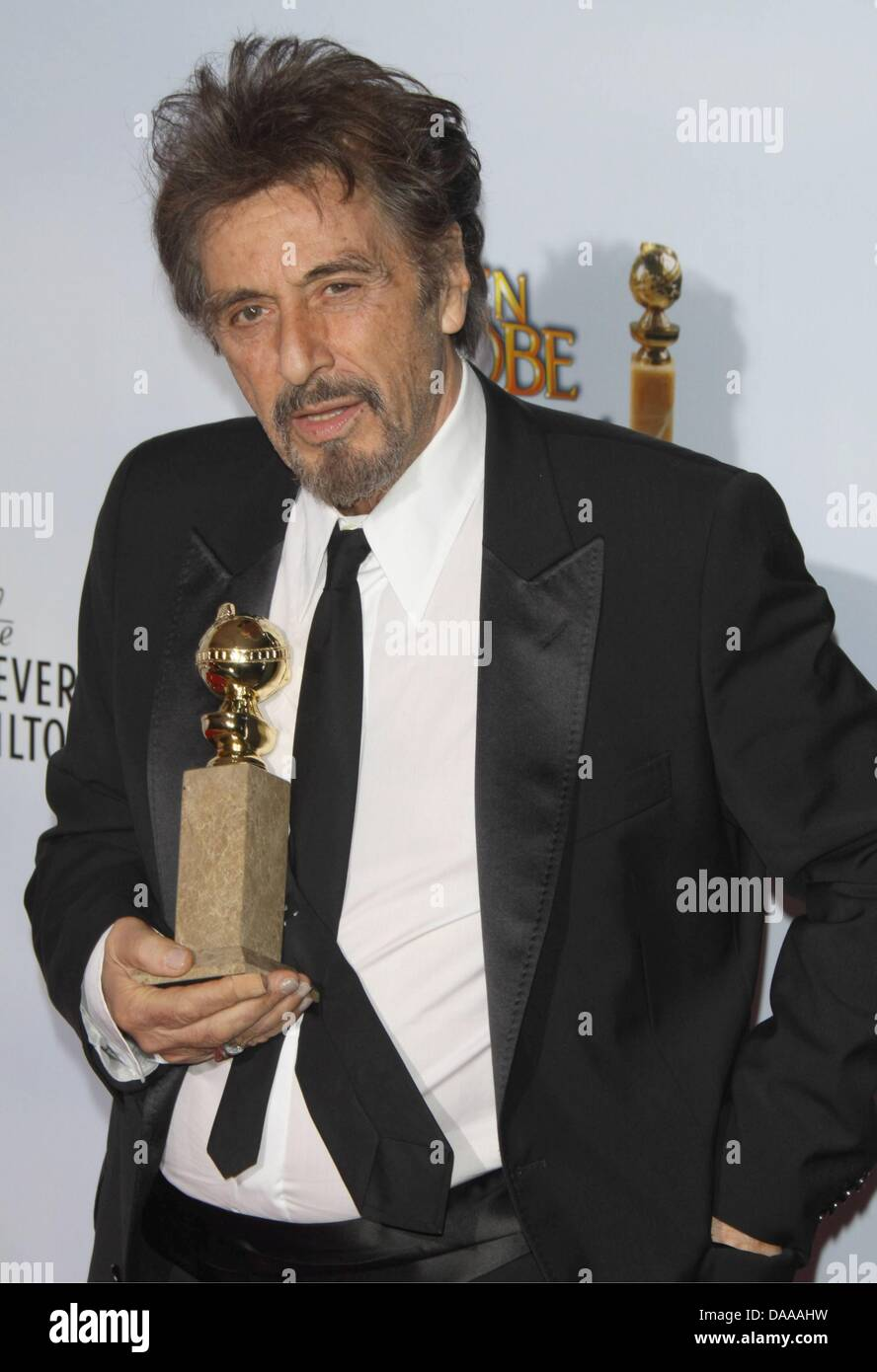 Us Actor Al Pacino Holds Up His Award For Best Performance By And Actor In A Mini Series Or Motion Picture Made For Television For His Role In You Dont