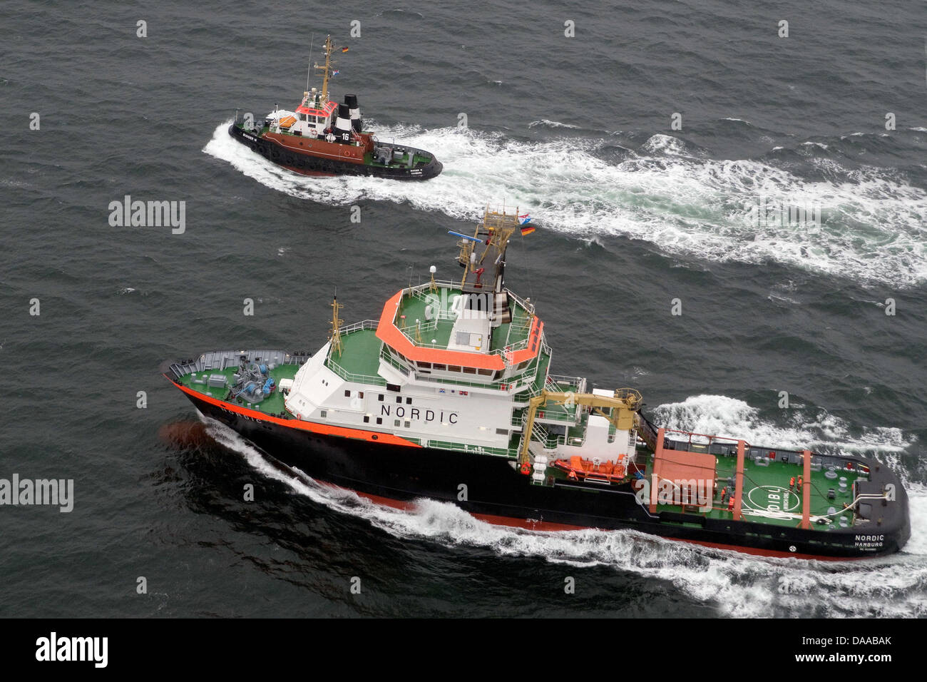 A Bugsier shipowning company handout of tugboat 'Nordic' off Helgoland, Germany, 10 January 2011. - Stock Image