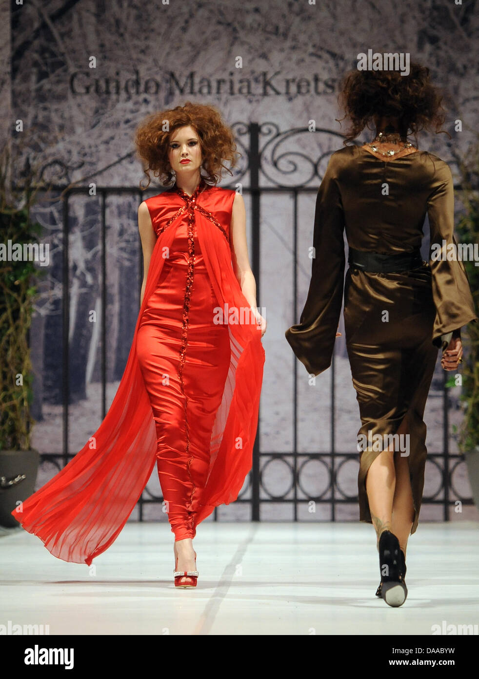 Models present creations at the Guido Maria Kretschmer show during the  Fashion Week in Berlin, 9d7c1f8c65