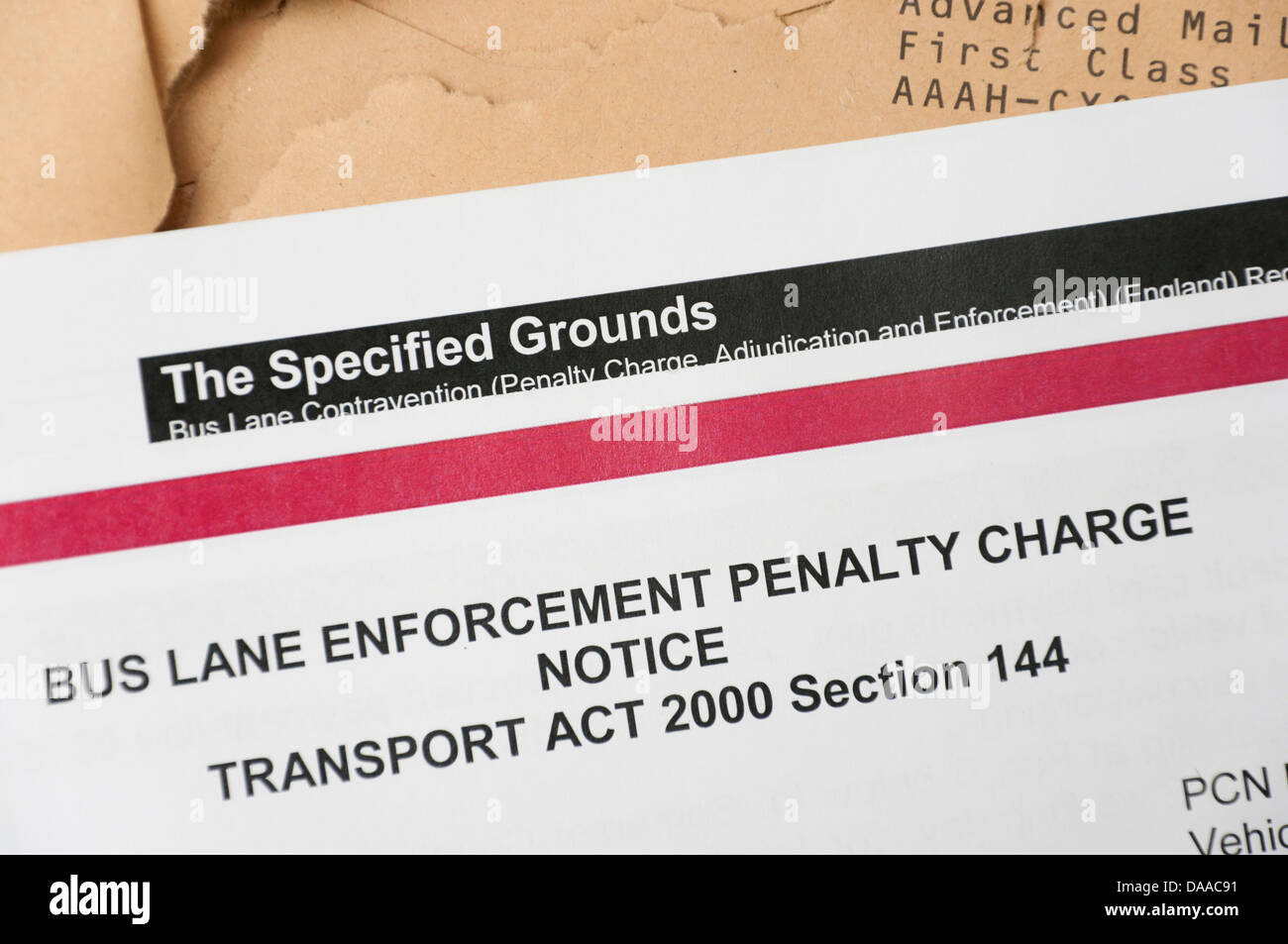 Penalty charge enforcement notce fine for driving in a bus lane. - Stock Image