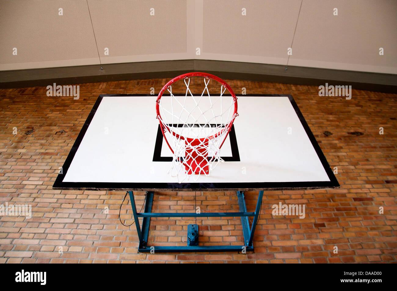 Basketball Hoop Inside A Gym Seen From Below Stock Photo 58007376