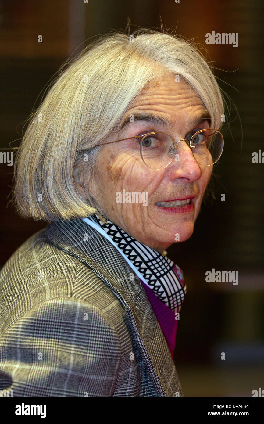 US author and novelist Donna Leon attends her book signing session for her new book 'Handel's Bestiary' - Stock Image