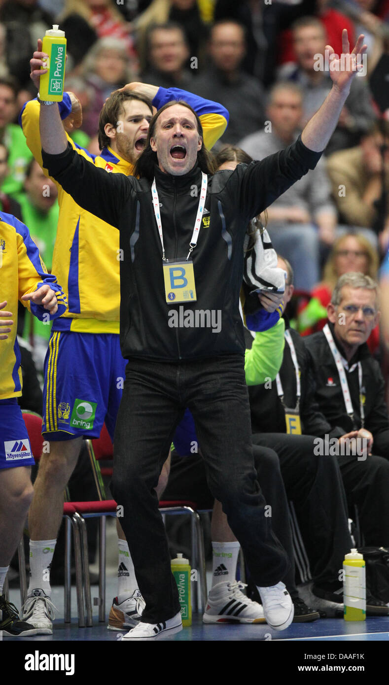 staffan olsson (c), coach of sweden, reacts during the men's