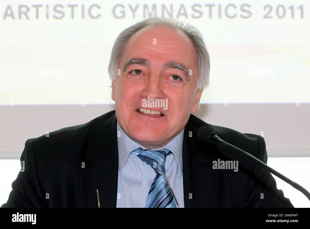 President of the European Union of Gymnastics (UEG)Georges Guelzec  delivers a press conference on European - Stock Image