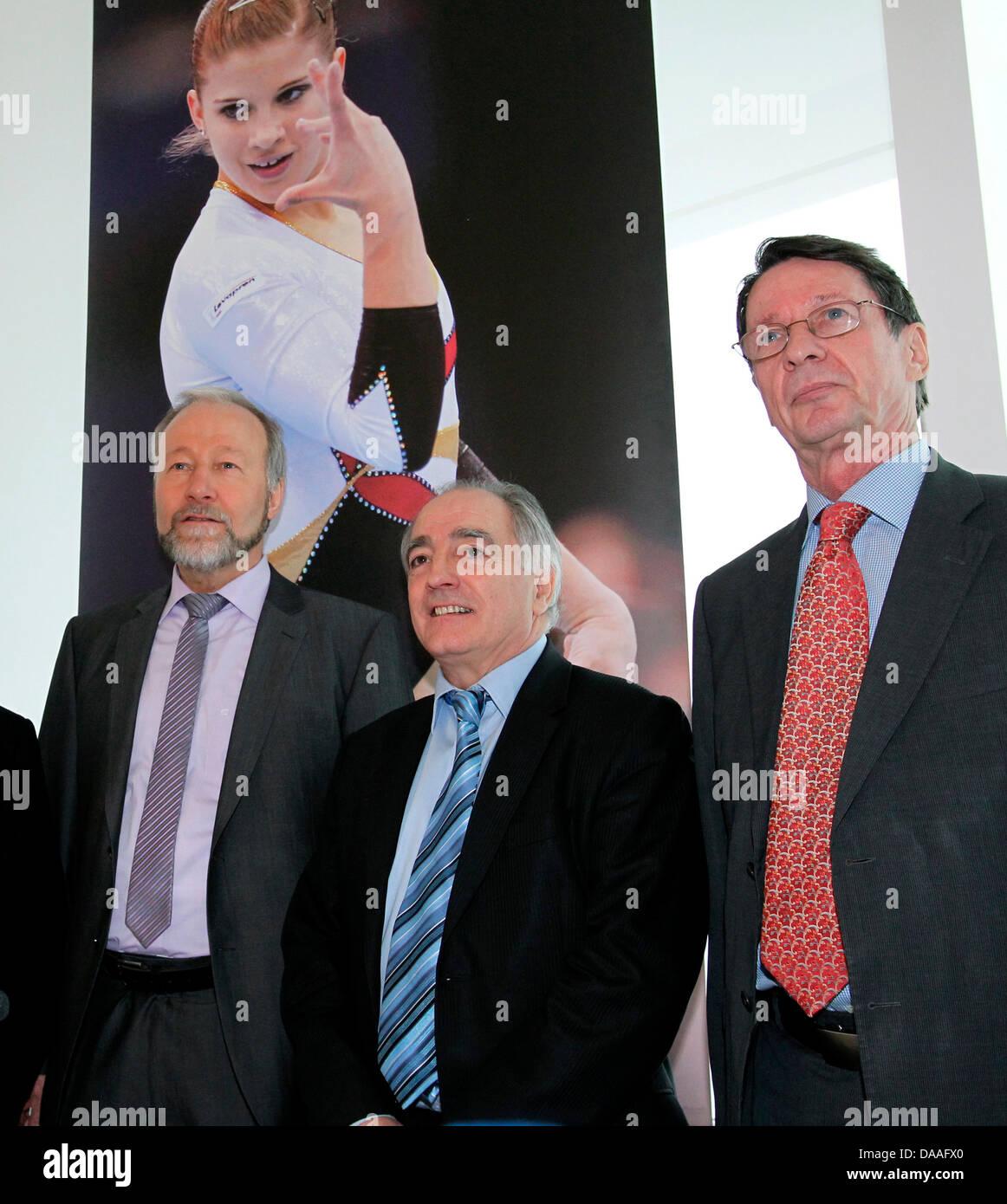 (L-R)President of German Gymnastics Federation (DTB)Rainer Brechtken, President of the European Union - Stock Image