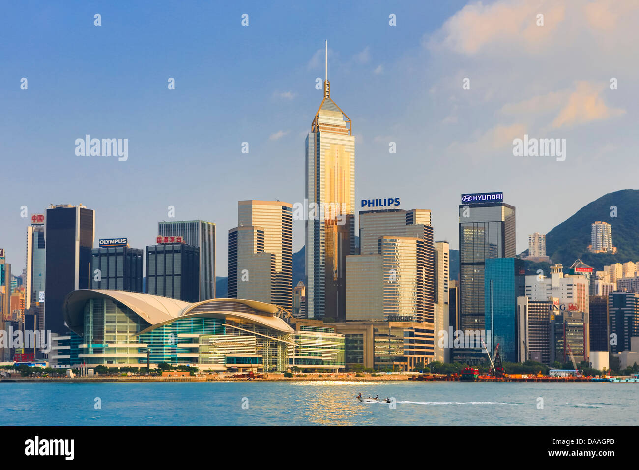 Hong Kong, China, Asia, City, Wanchai, Causeway, Districts, Central Plaza, Building, architecture, skyline, skyscrapers, - Stock Image