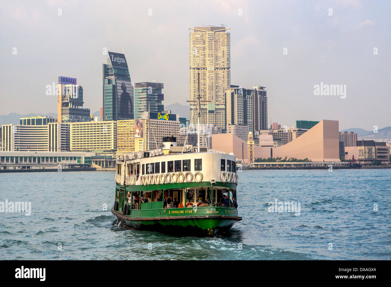 Hong Kong, China, Asia, City, Kowloon, District, Star Ferry, architecture, ferry, skyline, skyscrapers, boat - Stock Image