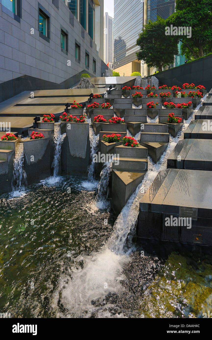 Hong Kong, China, Asia, City, waterfall, architecture, buildings, central, flowers, street, water fall - Stock Image
