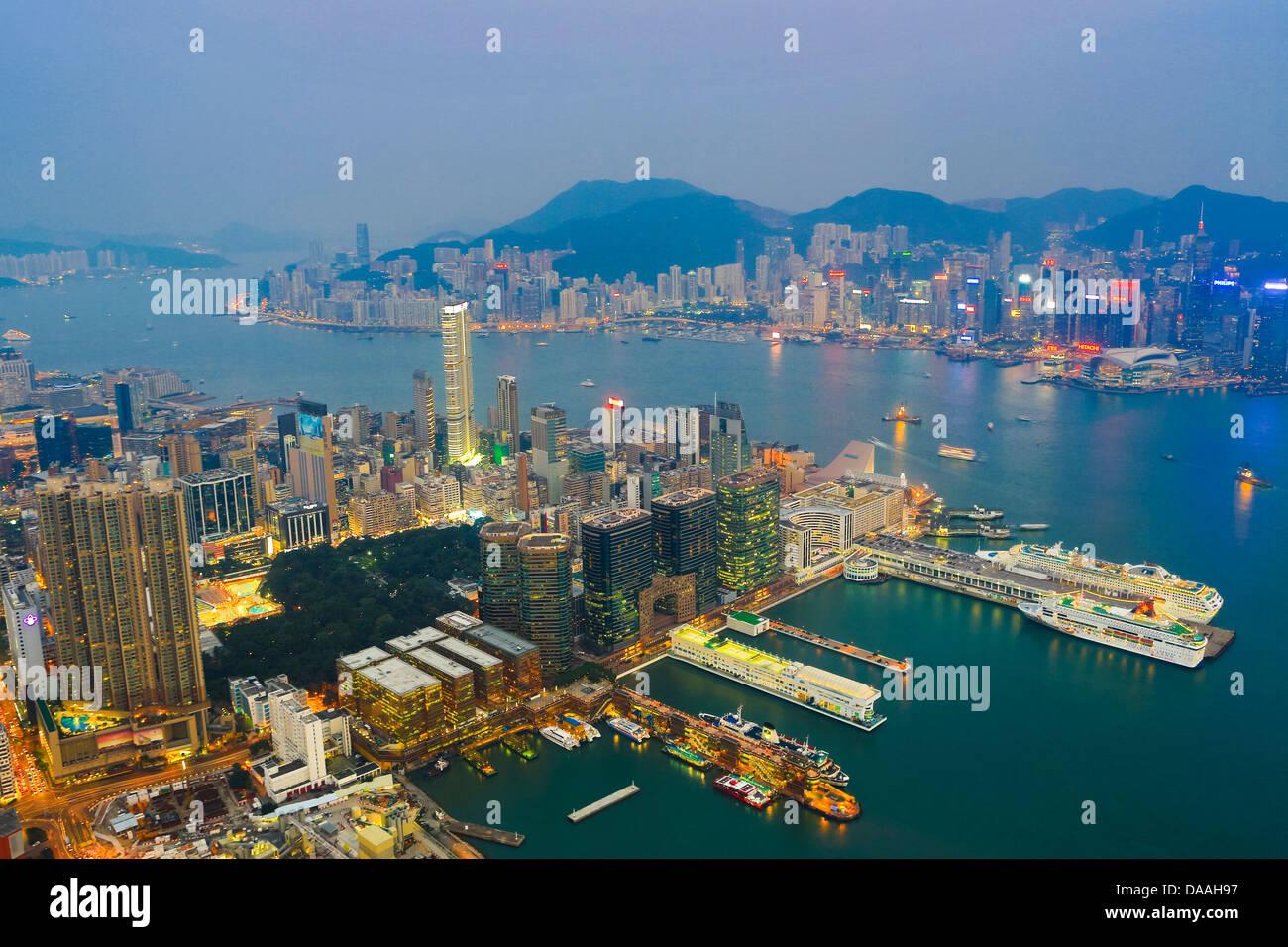 Hong Kong, China, Asia, City, Kowloon, Central Hong Kong, China, Asia, from ICC, Building, lights, panorama, peak, - Stock Image