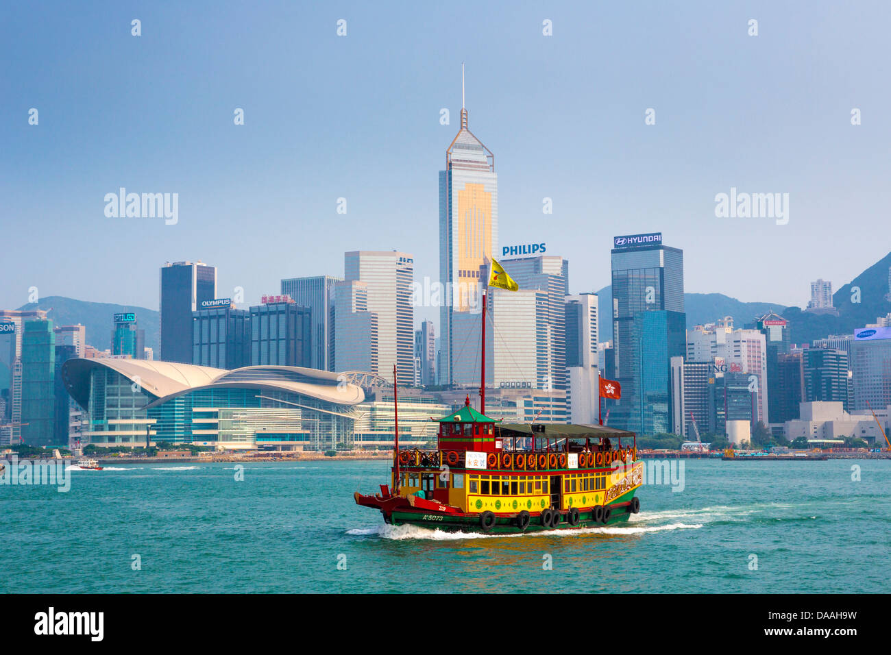 Hong Kong, China, Asia, City, Ferry, architecture, causeway, boat, skyline, skyscrapers, evening, twilight, wanchai, - Stock Image
