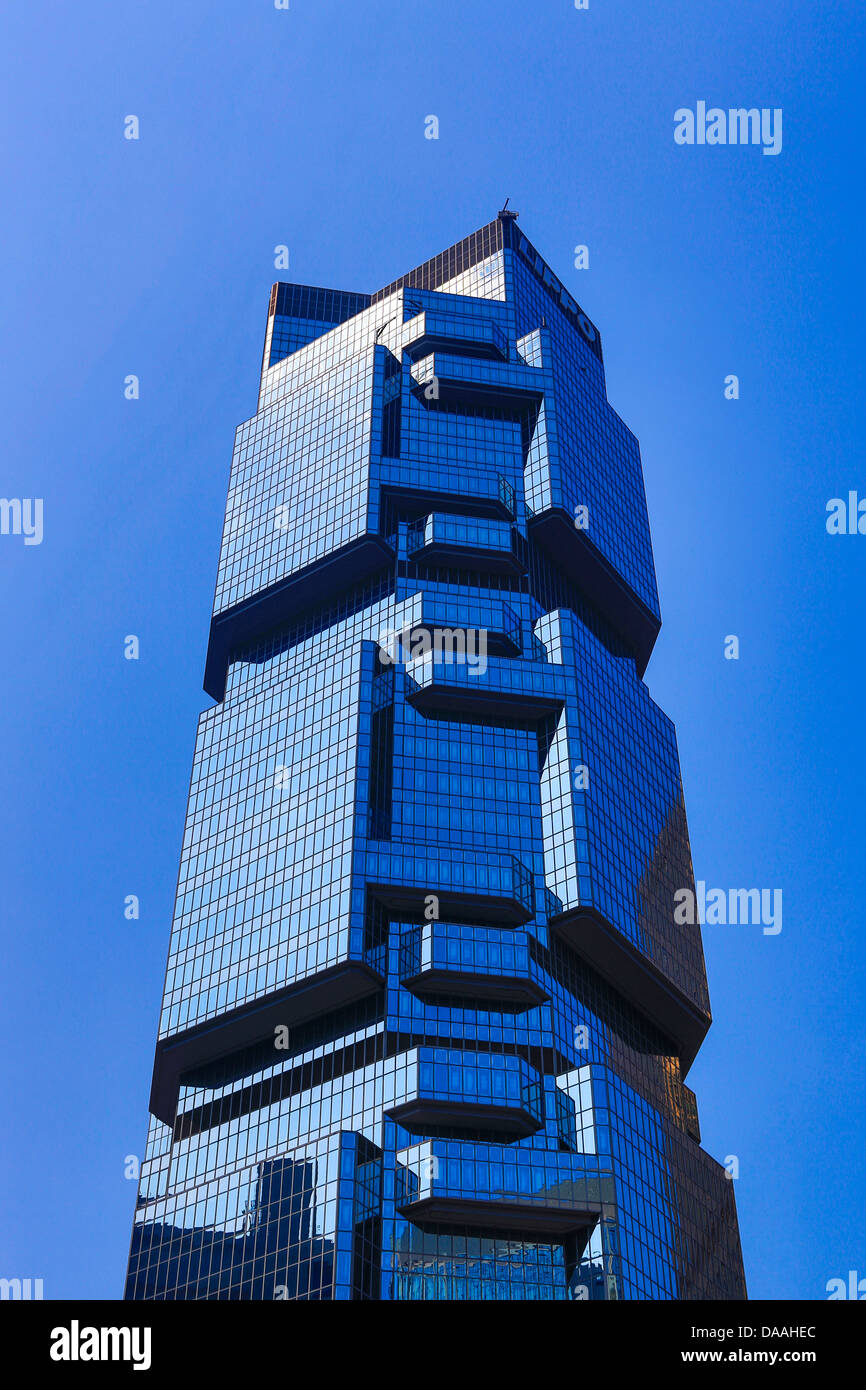 Hong Kong, China, Asia, City, Lippo Tower, architecture, central, skyline, skyscrapers, blue - Stock Image