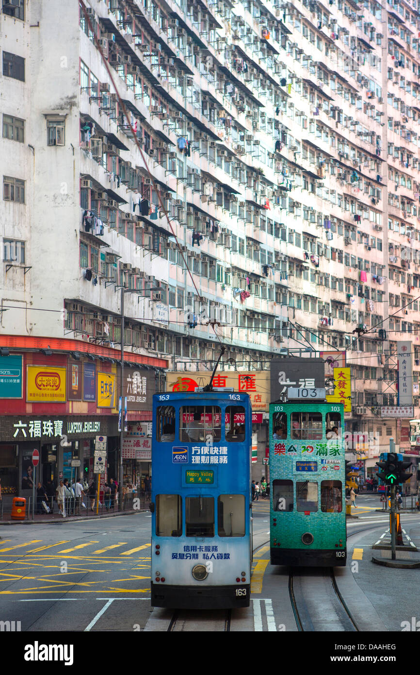 Hong Kong, China, Asia, City, Trams, architecture, central, skyscrapers, touristic, tram, tramway, transport - Stock Image