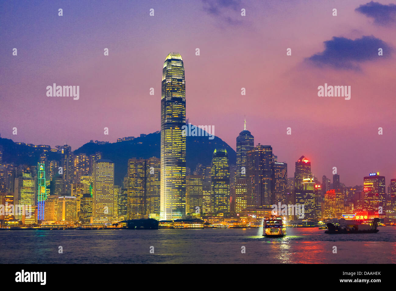 Hong Kong, China, Asia, City, Sunset, Financial, Center, Building, central, lights, panorama, peak, skyline, skyscrapers, - Stock Image